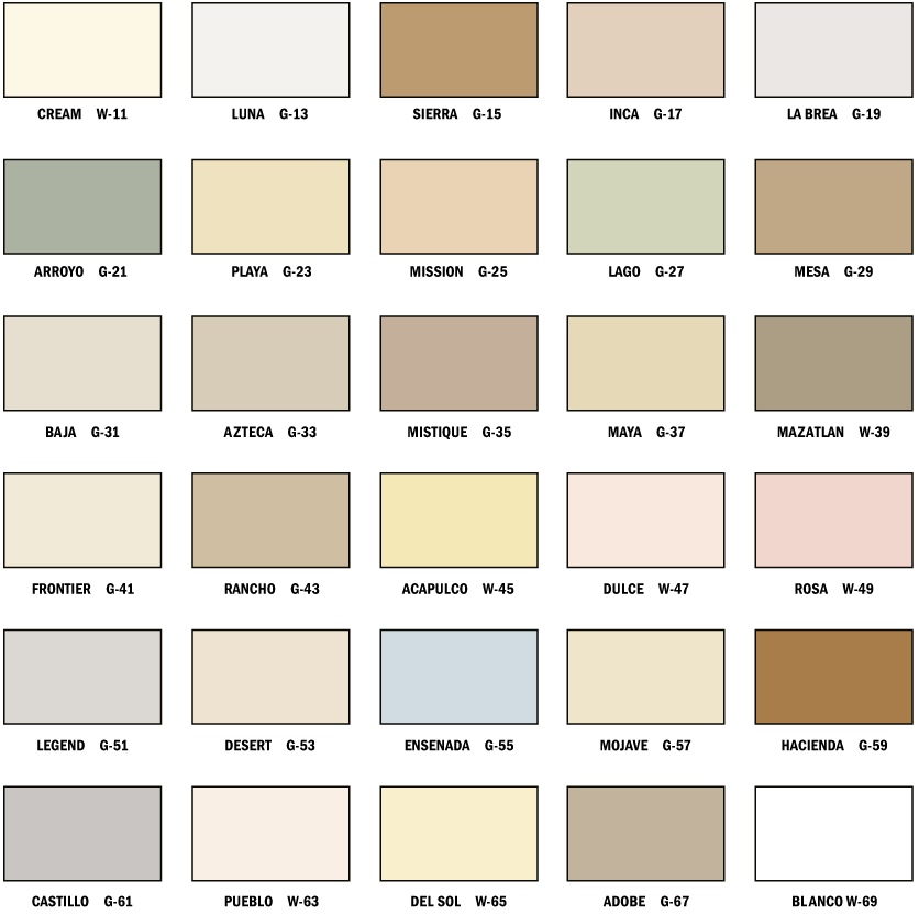 Merlex Stucco Color Chart