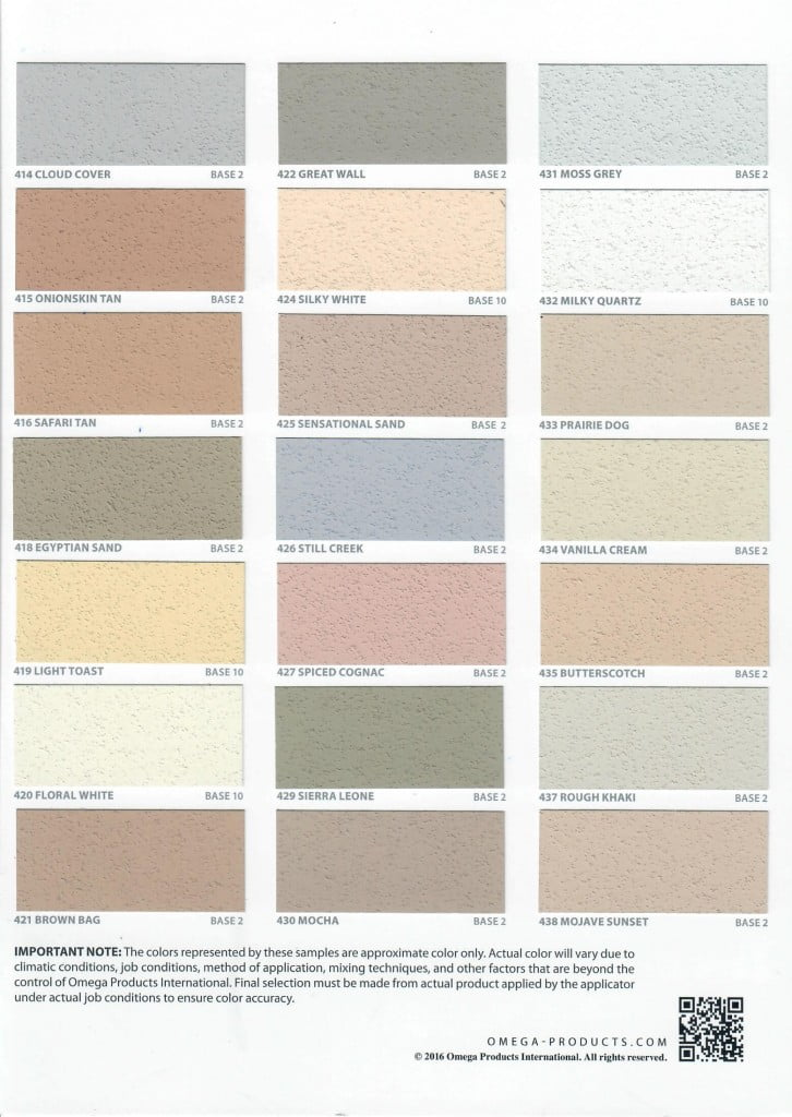 Omega products provides the most complete line of exterior for Most popular stucco colors